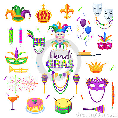 Mardi Gras Carnival Elements Colourful Collection