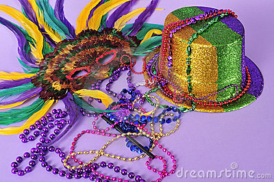 Mardi Gras feathered masks party hat beads