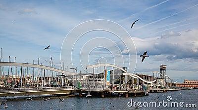 Maremagnum shopping center bridge Barcelona port
