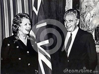 Margaret Thatcher and Shimon Peres Editorial Photo