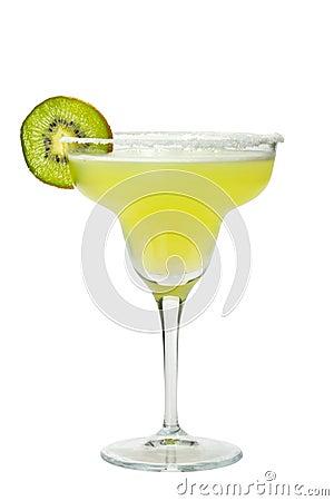 Margarita drink with salt on glass rim