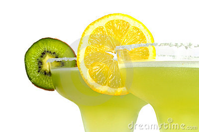 Margarita drinks with lemon and kiwi