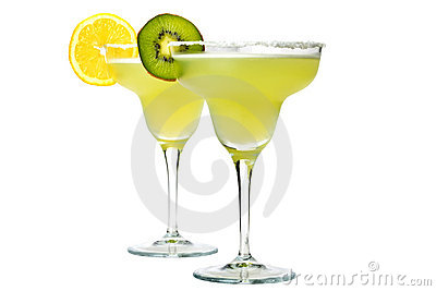 Margaritas with salt and lemon or kiwi