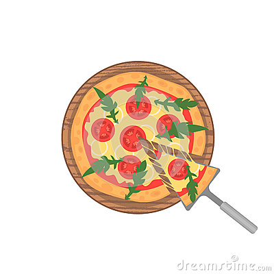 Free Margherita Pizza On Wooden Board On White. Slice With Melting Cheese. Vector Stock Image - 83123511