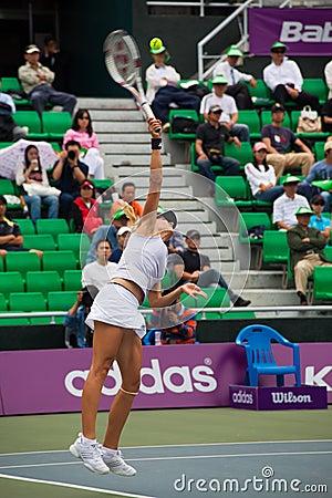 Maria Kirilenko Hitting Serve Editorial Stock Photo