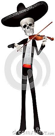 Mariachi Skeleton Band Violin player