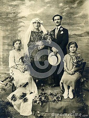 Mariage antique de photo de l original 1925