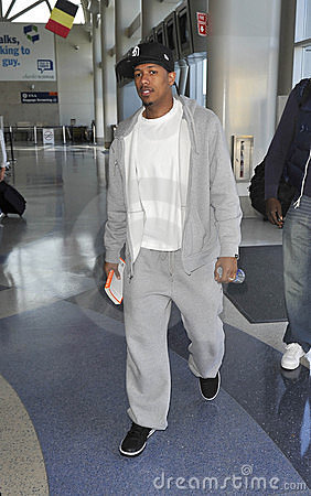 MAriah Carey s husband singer Nick Cannon at LAX Editorial Stock Photo