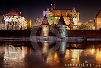 Marienburg castle in Malbork at night