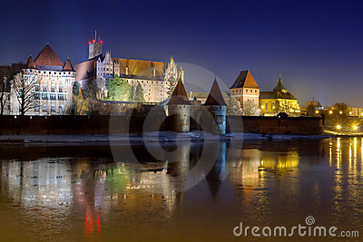 Marienburg Castle in Malbork at night