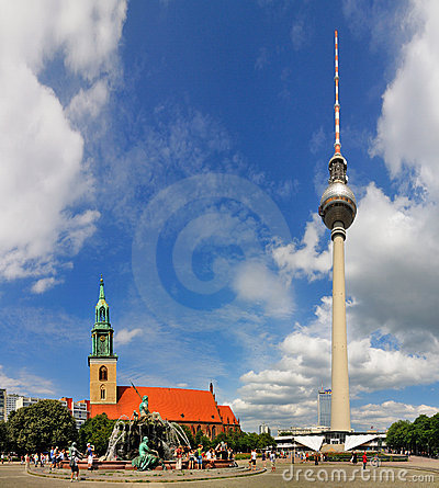 Marienkirche and Fernsehturm, Berlin Editorial Image