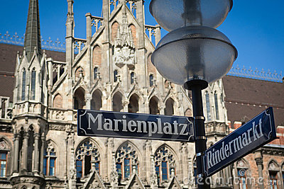 Marienplatz street sign over Munich town hall