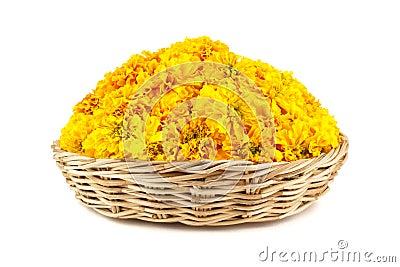 Marigold flowers in a wicker basket