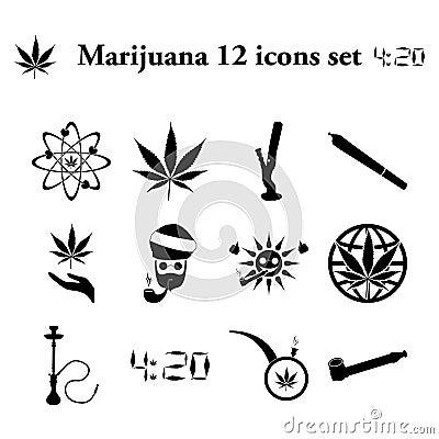 Free Marijuana 12 Simple Icons Set Royalty Free Stock Photography - 65942387