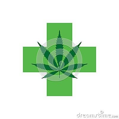 Free Marijuana Leaf With Green Cross. Medical Cannabis. Icon Logo Template. Stock Photo - 114004890
