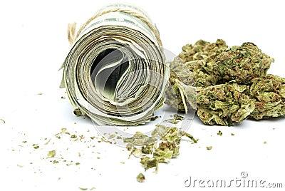 Drugs and money marijuana and cash on white background