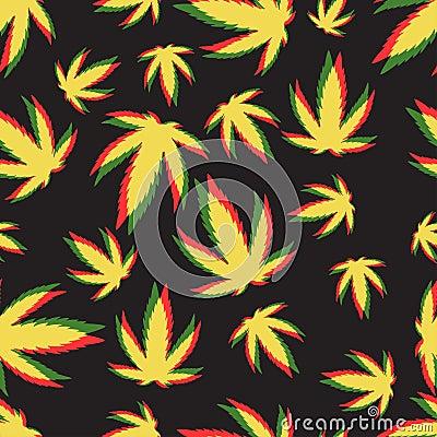 Marijuana seamless pattern vector. Vector Illustration