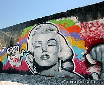 Marilyn Monroe Graffiti Editorial Stock Photo