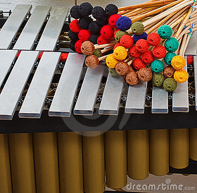 Marimba with coloured mallets