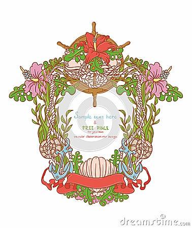 Marin- ram med havsfauna och blommor
