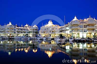Marina area at night, Benalmadena, Spain.