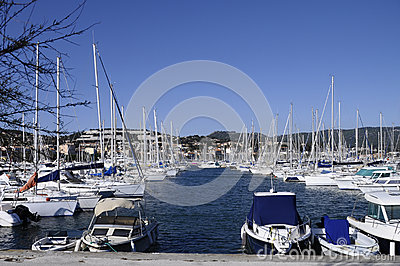 Marina of Bandol on french riviera, france