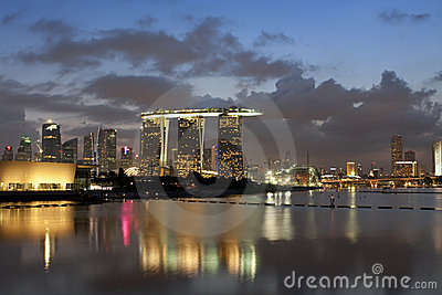 Marina Bay Sands Landscape Editorial Stock Photo