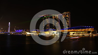 The Marina Bay Sands Laser Light Show Editorial Stock Photo