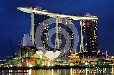 Marina Bay Sands at Night Editorial Photography
