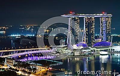 Marina Bay Sands at night Editorial Stock Photo