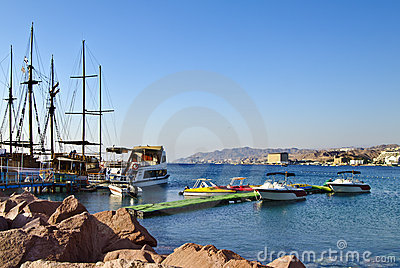 Marina with docked yachts at Eilat city, Israel