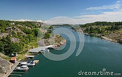 Marina fjord summer landscape