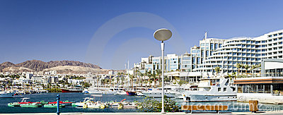 Marina near resort hotels in Eilat, Israel