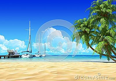 Marina pier and palms on idyllic tropical beach