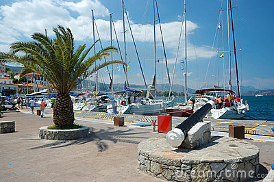 Marina at Poros island, Aegean sea,Greece Editorial Image