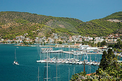 Marina at Poros island in Aegean sea,Greece
