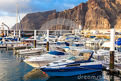 Marina at Puerto de Los Gigantes. Tenerife, Spain. Editorial Photo