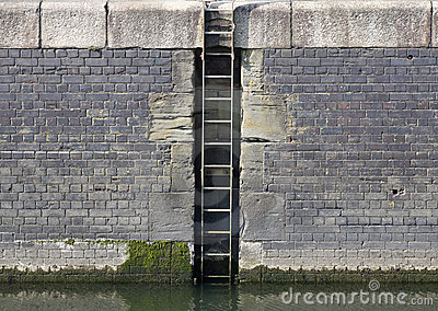 Marina quay wall and ladder
