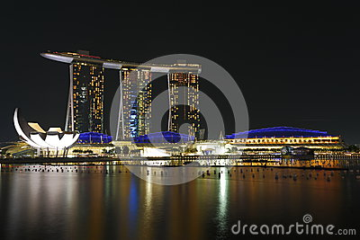 Marinafjärden Sands Singapore natt 1