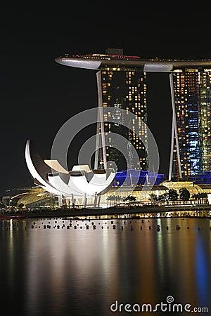 Marinafjärden Sands Singapore natt 2