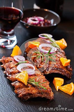 Marinated BBQ spare ribs