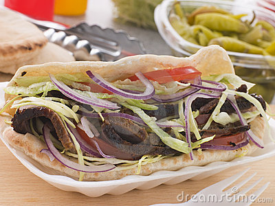 Marinated Lamb Kebab In A Pitta Bread
