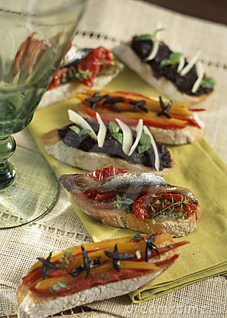 Marinated pepper,anchovy and tapenade Tapas