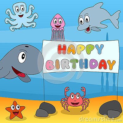 Marine Animals Happy Birthday