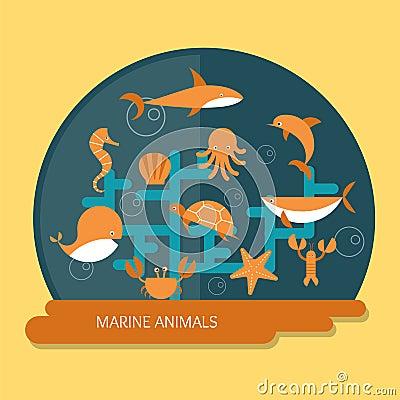 Marine Animals Stock Vector - Image: 42458295