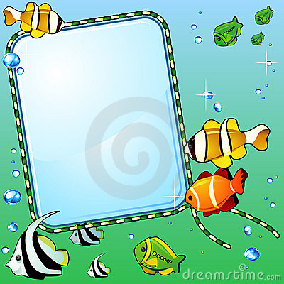 Marine background with fish