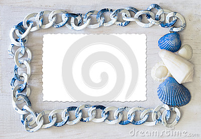 Marine frame white-blue color spectrum with isolate card