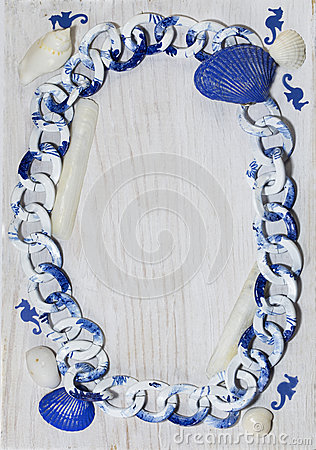 Marine frame white-blue color spectrum with seahorses