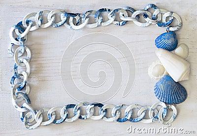 Marine frame white-blue color spectrum