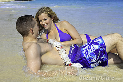 Marine and his wife at the beach